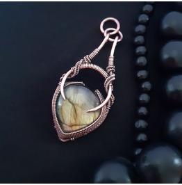 LUNAR LABRADORITE PENDANT Wire Wrapped Celtic Pendant, Lunar Necklace
