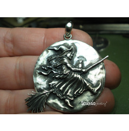 Witch Pendant, Flying Witch On Broomstick Sterling Silver 925 Necklace