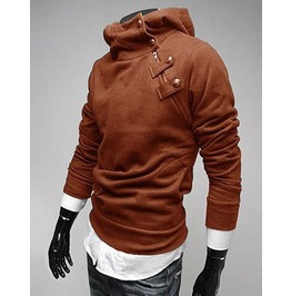 Darksoul Shirt Slim Fit Winter Mens Sweater Hood Brown Jacket Male