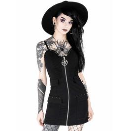 Tiberio Dark Side Celeste Pentagram Zipper Pockets Black Gothic Dress