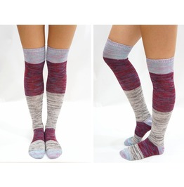 Pastel Block Knitted Thigh High Knee High Socks Grey