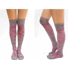 Pastel Block Knitted Thigh High Socks Mix