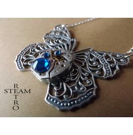 Clockwork Butterfly Capri Blue Steampunk Necklace