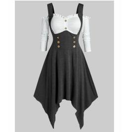 Fake Two Piece Cold Shoulder Irregular Length Dress