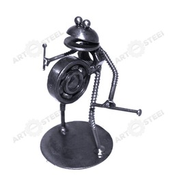 Hand Made Frog Playing Drum Figurine