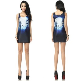 Corpse Bride Print Fashion Women Bodycon Dress
