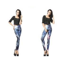 Blue Skull Punk Print Women Leggings Pants Christmas