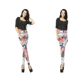 Flag Print Fashion Women Leggings Pants Christmas