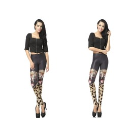 Two Tigers Print Fashion Women Leggings Pants Christmas