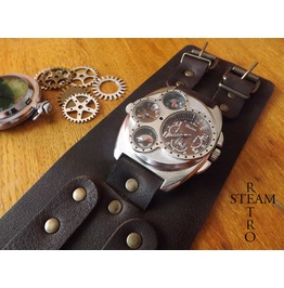 Russian Military Style Silver Compass Thermometer Dual Time Steampunk Watch