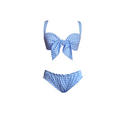 Gingham Tie Bra and Frilly Knickers Set
