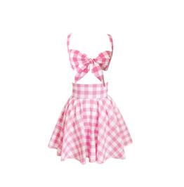Gingham Tie Bra Top and Skirt Set
