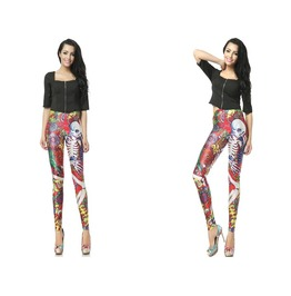Colorful Skull Print Fashion Women Leggings Pants