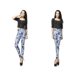 Blue Galaxy Plaid Print Women Fashion Leggings Pants