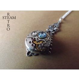 Steampunk Victorian Aquamarine Pendant Necklace Steampunk Jewelry Steamretro