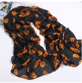 Black Orange Chiffon Scarf Skull Print