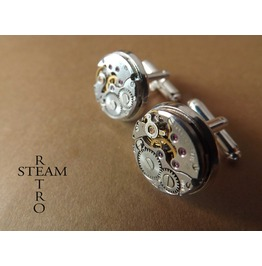 Steampunk Cufflinks 16mm Round Vintage Chaika Watch Movements. Vintage Upcycled Mens Cuff Links