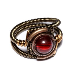 Steampunk Jewelry Ring Red