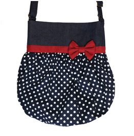 Navy White Little Polka Dots Red Bow Crossbody Tote Bag