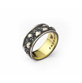 Multi Skull Ring. Oxidized Silver.