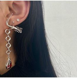 Punk Pointed Gemstone Stitching Earrings Asymmetrical Stud Earrings