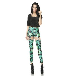Sexy Hollow Maple Leaf Print Women Fashion Leggings