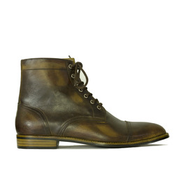 Vintage Cap Toe Ankle High Lace Up Leather Boot