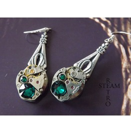 Steampunk Emerald Earrings Steampunk Steamretro