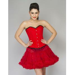 Red Velvet Gothic Waist Training Bustier Overbust Top & Tissue Corset Dress