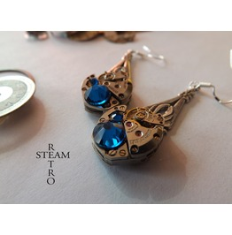 Steampunk Saphire Earrings Steampunk Steamretro Jewelry