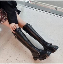 Genuine Leather Black Lace up Women's Boots