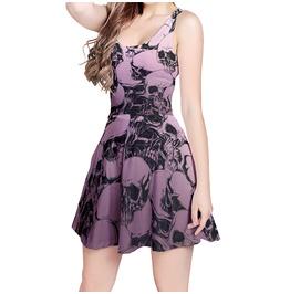 Elliz Clothing's Gothic Skulls Sleeveless Flared Pastel Goth Skater Dress