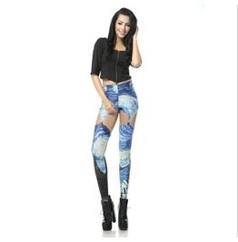 Sexy Hollow Van Gogh Print Women Fashion Leggings