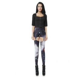 Sexy Hollow Gray Galaxy Print Women Fashion Legging