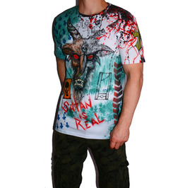 Baphomet T-shirt Hand Drawn Alternative Clothing Dyed Urban Streetwear