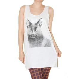 Cat Animal Tank Top White Indie Rock T Shirt Size M