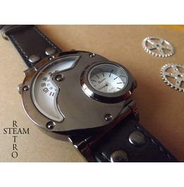 Steampunk Dual Time Watch Mens Steampunk Jewelry