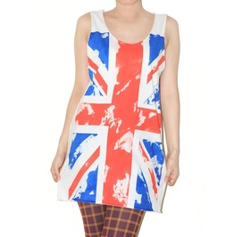 Uk Flag United Kingdom White Tank Top Rock Shirt Size M
