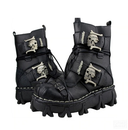 Punk Rock Style Thick Sole Biker Motorcycle Ankle Boots