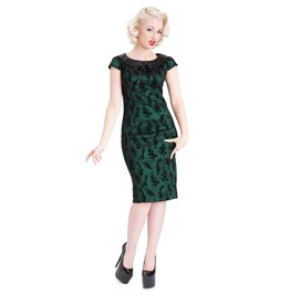 Voodoo Vixen Emerald Collared Pencil Dress