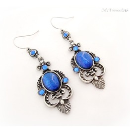 Elegant Blue Victorian Gothic Earrings, Handmade Gift
