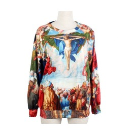 Oil Painting Print Fashion Sweater Round Collar