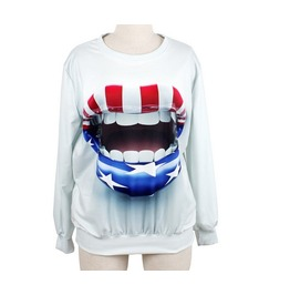 Crazy Lip Print Fashion Round Collar Sweater