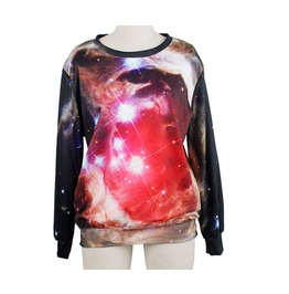 Red Galaxy Magic Light Print Fashion Sweatshirts