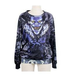 Blue Style Figure Print Fashion Round Collar Sweatshirt