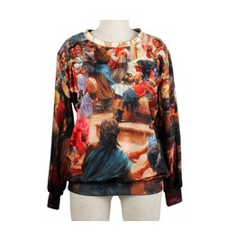 Famous Oil Painting Print Fashion Round Collar Sweatshirt