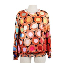 Colorful Pattern Print Fashion Round Collar Sweater
