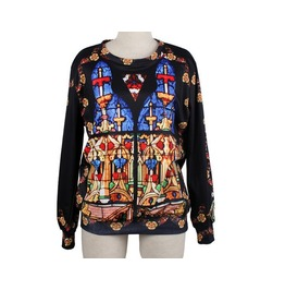Retro Castle Print Fashion Round Collar Sweater