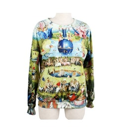 Famous Oil Painting Print Fashion Round Collar Sweater