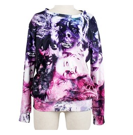 Magic Style Figure Print Fashion Round Collar Sweater